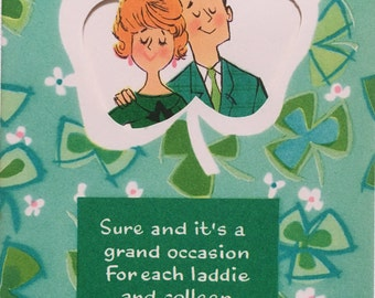 Vinage St. Patrick's Day Card 1950 Fashion Mid Century NOS