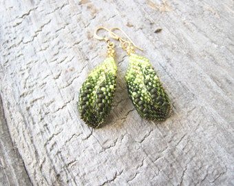 Green Flower Petal or Leaf Earrings, Nature Inspired
