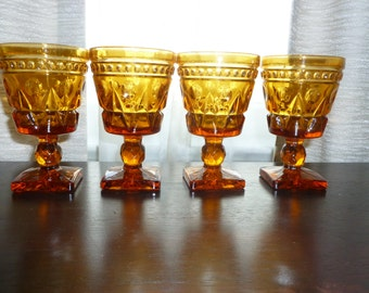 Colony Park Lane 1960's Amber Goblets - Set of 4 Mid Century Modern Dining Wine Water Cottage Chic Retro Entertaining