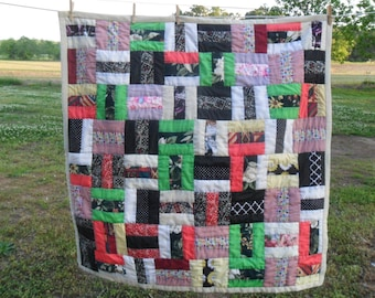 "Hand Quilted Multi-colored Patchwork Lap Quilt, Baby Play Mat, Wheelchair Quilt, Crazy Quilt 42"" X 43"""