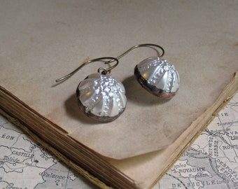 Vintage White Glass Button Earrings Repurposed Jewelry
