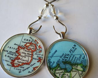 Holiday Gifts, Customized Map Ornament Set, 2 Large Christmas Ornaments, Personalized Gift, Brother Gift, Mens Gift, Location Ornament