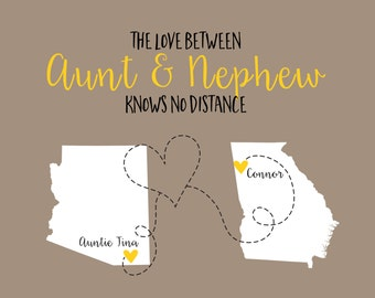 Mothers Day Gift for Aunt From Nephew, Custom Map Art Print, Family Auntie Gifts Picture, Cute Nephew Gifts Personalized, God Child, Baptism