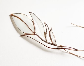 White Glass Feather Stained Glass Suncatcher by jacquiesummer