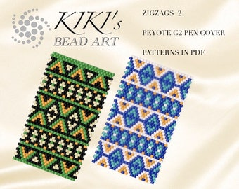 Pattern, peyote pen cover Zigzags 2 peyote pattern for pen wrap set of 2- peyote pattern for G2 pen by Pilot- in PDF instant download