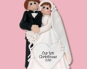 Bride & Groom Handmade Polymer Clay Personalized WEDDING Ornament - Limited Edition