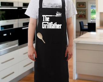 The Grillfather BBQ Apron, Cooking Apron, Novelty Apron, For Dads, Fathers day. Black Apron with Pocket for Barbecue Cooking