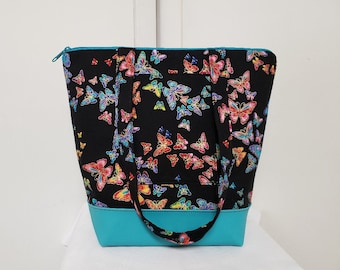 Tote Bag with Butterflies, Vinyl Bottom, Large Purse with Butterflies, Butterfly Tote Bag, Tote with Pockets, Washable Butterfly Travel Bag.