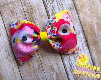 Bright Owl rainbow bowtie hair bow
