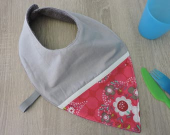 """flower"" bandana bib reversible cotton Terry"
