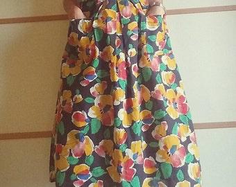 VINTAGE 80's flower Skirt// colored skirt//