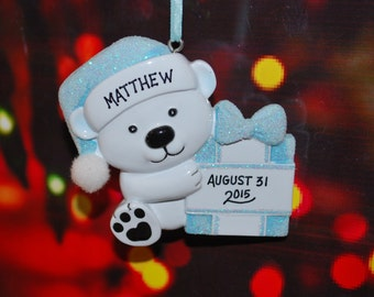 Personalized Baby Boy Bear with Present Ornament
