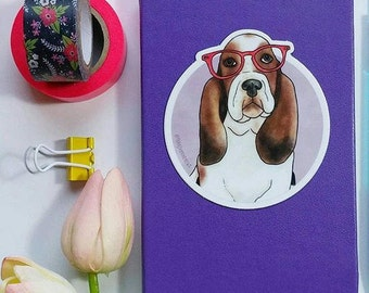 Dog sticker, Dog Laptop Sticker, Basset Hound sticker, Vinyl Sticker, Dog Vinyl Sticker, Bullet journal Sticker, Planner Stickers