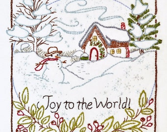 Joy to the World - Winter - 100% Cotton Embroidery Pattern - Christmas Holiday