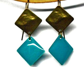 Bronze and dark turquoise earrings