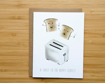 A Toast to the Happy Couple - Wedding Card - Punny