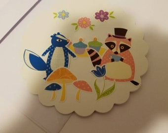 Forest animal party notecard