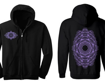 Geometric REPEATER Hoodie Men's and Women's Black Hooded Sweatshirt Sacred Geometry