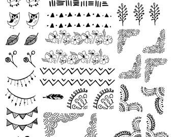 Decorative Doodles Printable Sticker Sheet PDF Bullet Journal Erin Condren Happy Planner Kikki K Filofax