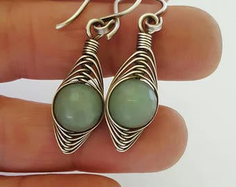 Sterling silver aventurine earrings - green gemstone earrings - green aventurine jewelry - wire wrapped jewelry - silver wire earrings