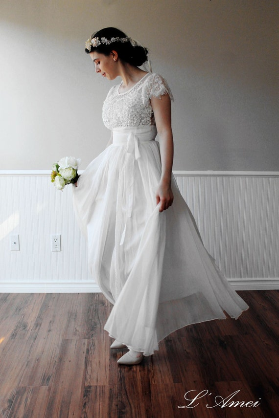 Custom made Simple Boho White Lace Wedding Dress great for