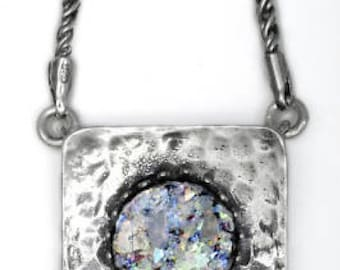 Colorful Ancient Roman Glass Necklace, Roman Glass Pendant, 925 Sterling Silver Necklace, OOAK, Unique Jewelry