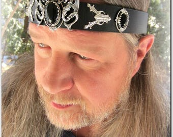 Silver Dragons Headpiece, Mens Headpiece, Handfasting, Black Leather Headband, Burning Man Festival, Amethyst or Black Onyx, Renaissance
