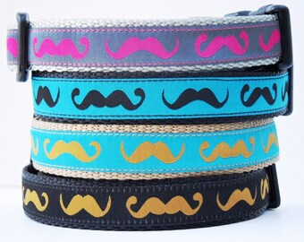 The Hipster - Mustache Dog Collar / Adjustable / Pet Accessories / Handmade / Handlebar Mustache / Collars