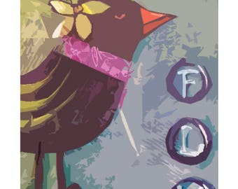 Art Prints Mixed Media folk art bird - original artwork and graphic design