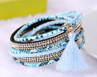 bracelet 1 x PU leather blue Bohemian MULTISTRAND cuff pattern tassel/rhinestone metal Golden 19.5 cm