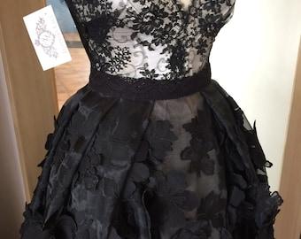 3D Black flower lace fabric, Wedding lace, lingerie lace, 3d black chantilly lace fabric, 3D lace, embroidered M000067