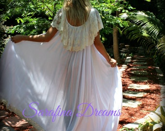 Lace Ruffle Bridal Nightgown Wedding Lingerie Bridal Sleepwear Angel Nightgown White Nightgown Mother Daughter Nightgown Bridal Lingerie