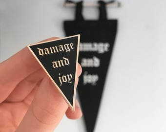 Damage and Joy Enamel Pin -Life Club- hard enamel pin, lapel pin, old english, pin badge soft enamel, punk pin, gifts, pennant, triangular