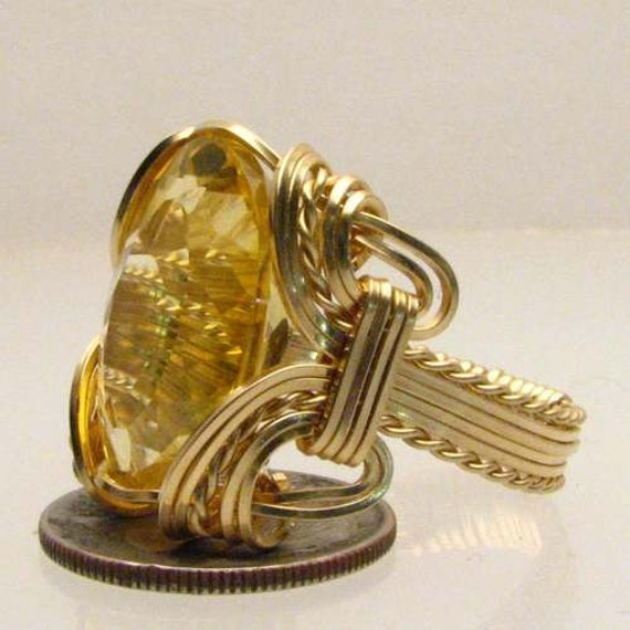 Handmade Solid 14kt Gold Wire Wrap Golden Citrine Ring