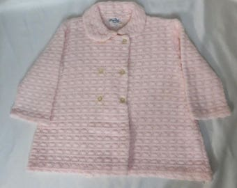 Vintage 60s Baby Coat Sweater Spring Pink Knit Easter Acrylic Double Breasted Jacket Wedding