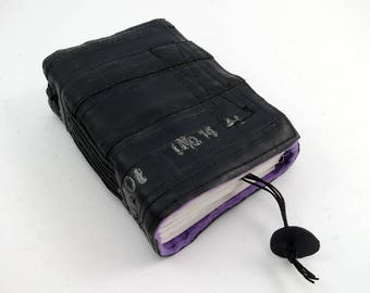 Recycled journal, bike inner tube, blank pages, purple linen and neop pink velcro closure, small.