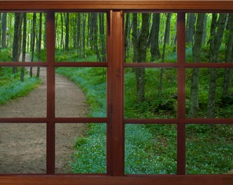 Wall mural window, self adhesive, path thru the woods window view- 3 sizes available