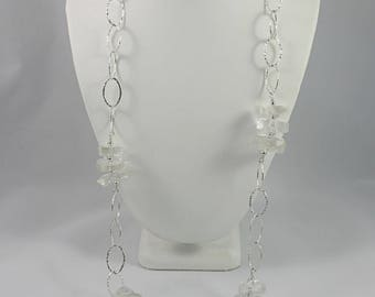 Quartz Crystal Sterling Silver Necklace 35 inches Long