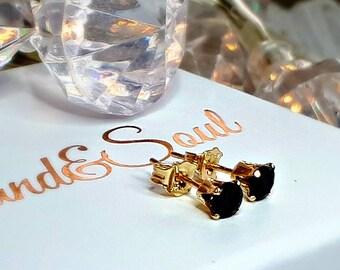 Black Spinel & Gold Stud Earrings - Tiny Stud Earrings - Gift For Her - Gift For Girlfriend