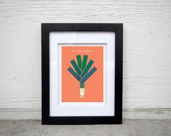 Leek vegetable print, modern home decor, leek print, vegetable poster, geometric art, contemporary art, scallion art, botanical poster