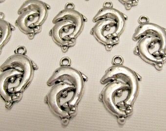 6 Antique Silver Mom and Baby Dolphins Charms
