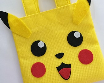 Set of 12 Pikachu Favor Bags with Personalized Thank You Tags, Pokemon Party, Pokemon Favor Bags, Pokemon Birthday, Pokemon, Pikachu Bags.
