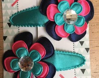 Hairpins flower dark blue/fuchsia/light blue