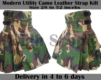 """Modern Utility Camo Kilt 30"""" to 50"""" Made of Cotton Fastest delivery in 5 to 7 days"""
