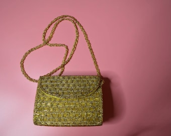 Little Sequin Box Purse Covered in Gold Beads with Sequin Chain