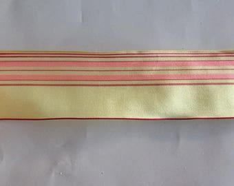 4 meters of fancy - pink and red stripes on background yellow number 1666 Ribbon