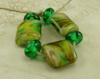MADE to ORDER - Green Earth Nugget Shape Lampwork Bead Set -  St Patricks Day Green Brown Mother Irish Day Moss SRA - I ship Internationally
