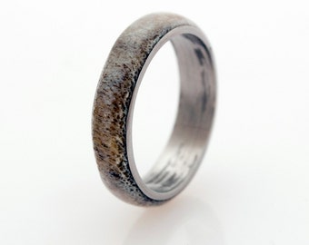 Anter Ring Titanium Ring and Antler Wedding Band Man Ring - Titanium Ring Antler Ring mens wedding band
