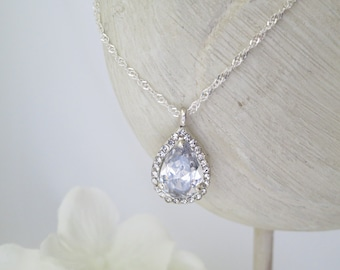 Crystal teardrop wedding necklace, CZ teardrop pendant necklace, Simple bridal necklace, Sterling silver necklace