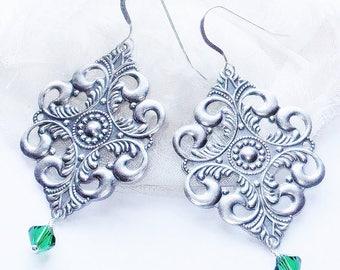 Emerald Earrings, May Birthstone, Art Nouveau Earrings, Vintage Earrings, Birthday Gift for Her, Romantic Boho Chic Jewelry